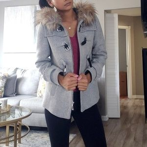 Purchased in Italy! Zara Gray Fur Hood Jacket!